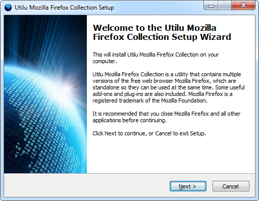 Utilu Mozilla Firefox Collection Setup: Welcome