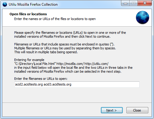 Utilu Mozilla Firefox Collection: Open files or locations