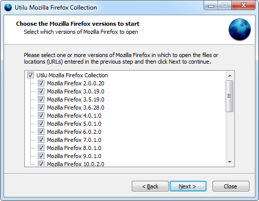 Utilu Mozilla Firefox Collection: Choose versions