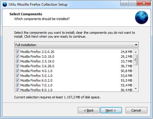 Utilu Mozilla Firefoxi kollektsiooni seadistamine: valige Komponendid