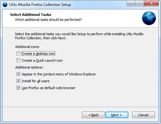 Utilu Mozilla Firefoxi kollektsiooni seadistamine: valige Tasks