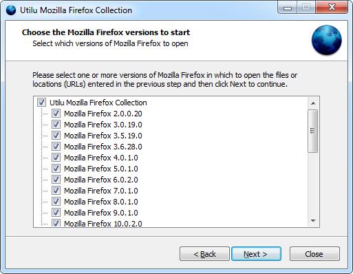 Utilu Mozilla Firefoxi kollektsioon: valige versioonid